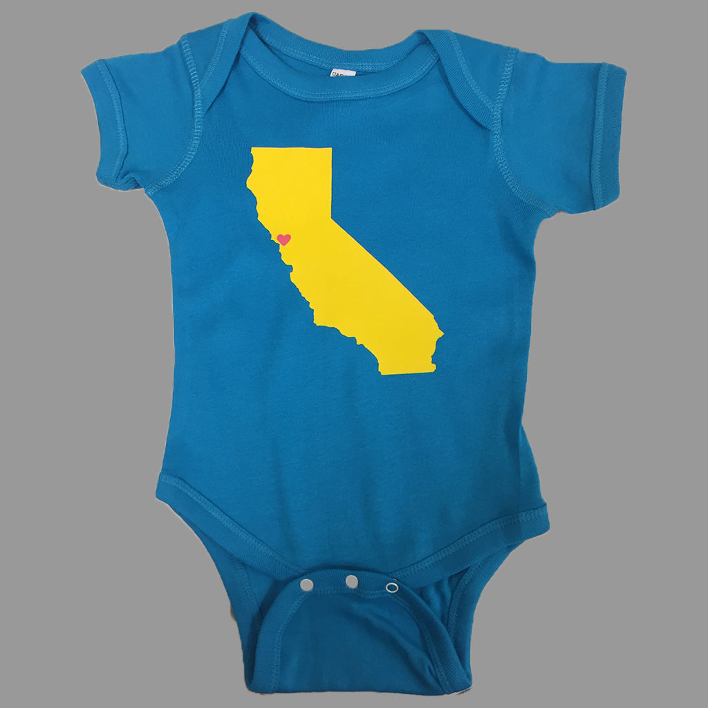 turquoise onesie with California map on it