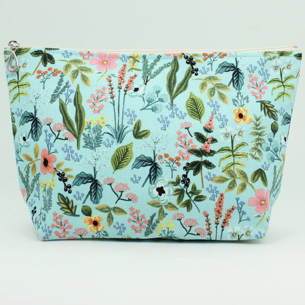 large cosmetic bag light blue flower