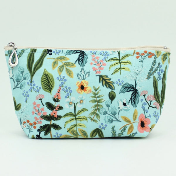 small cosmetic bag light blue flower