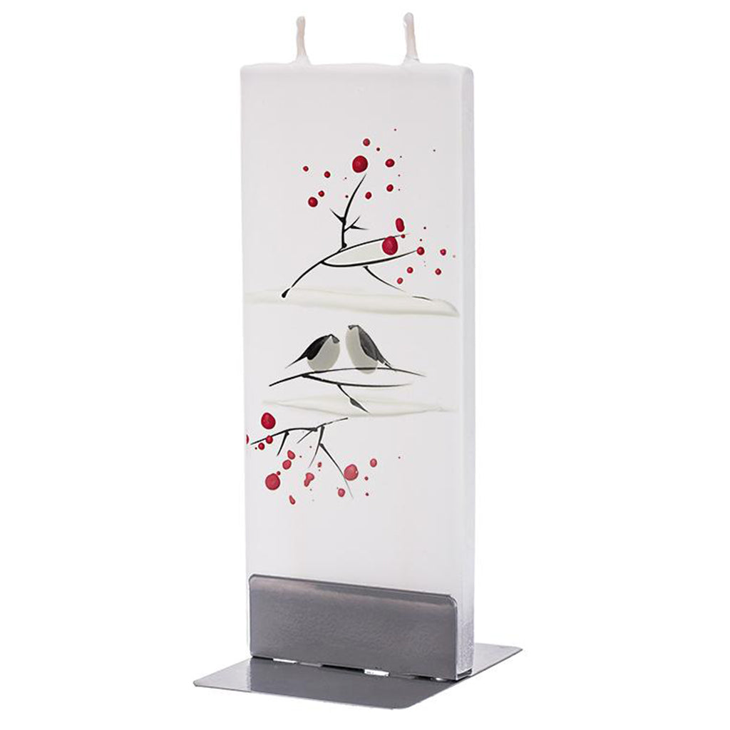 Flatyz handmade candle winter birds on white