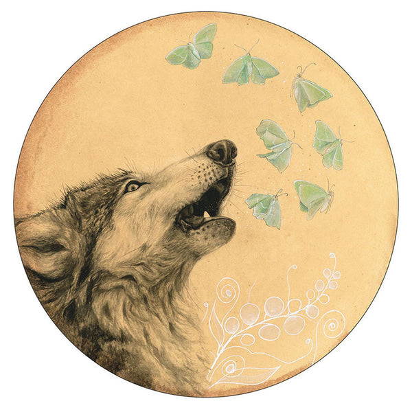Wolf Howl print by Amy Rose Moore.  From original watercolor, gouache and ink painting.