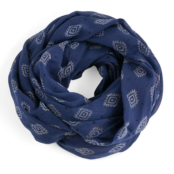 Graymarket  zelda themed black gray and indigo scarf. 100% cotton. overhead view