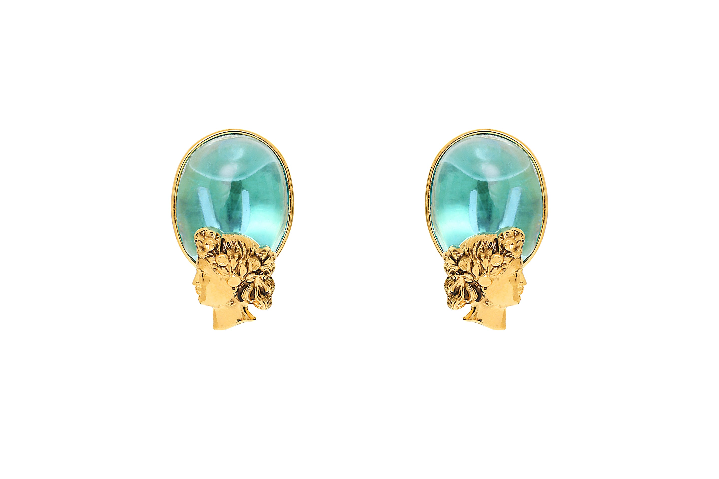 Back to Rome Cameo Clip Earrings with Cameo