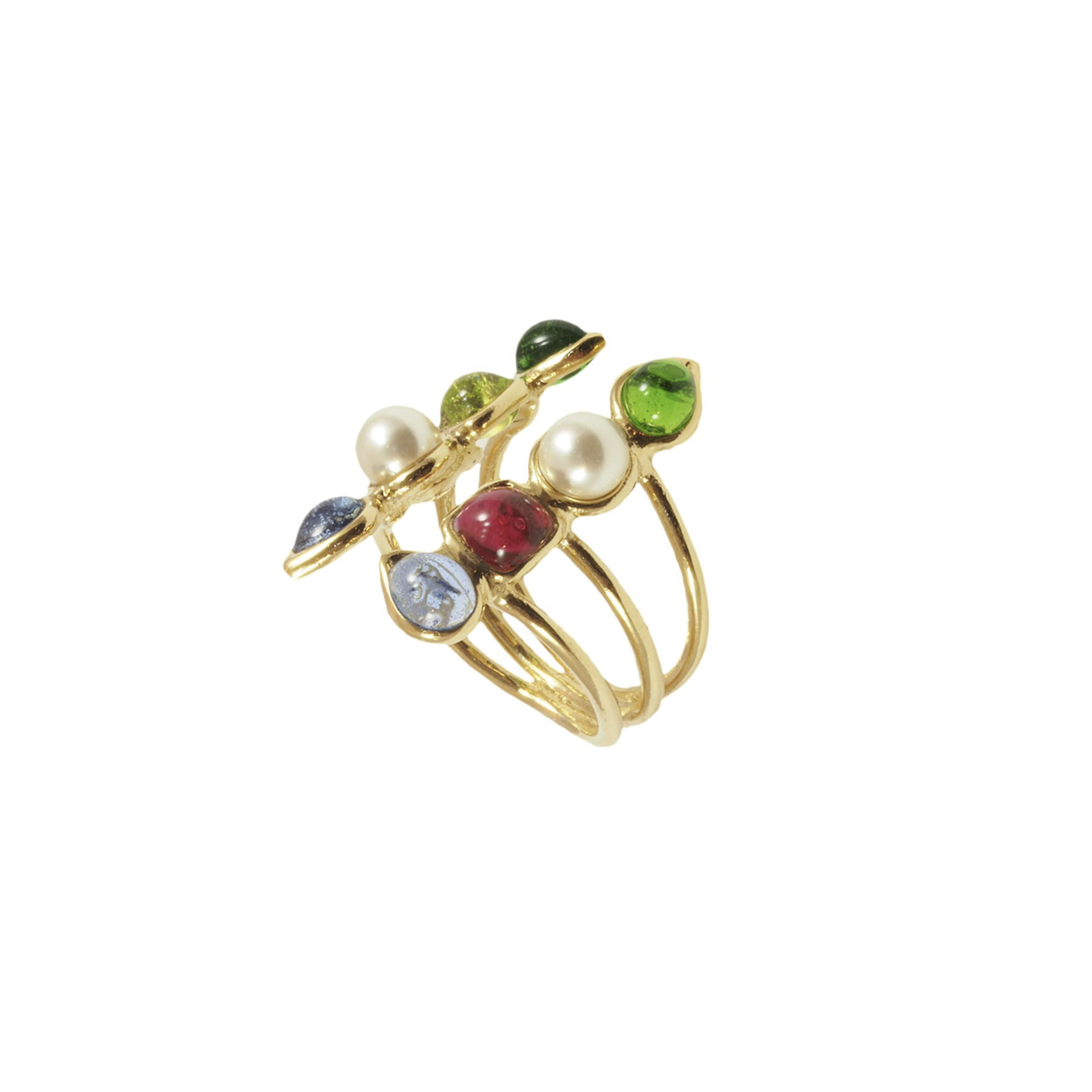 Double Geometrical Shape Adjustable Ring with pearls