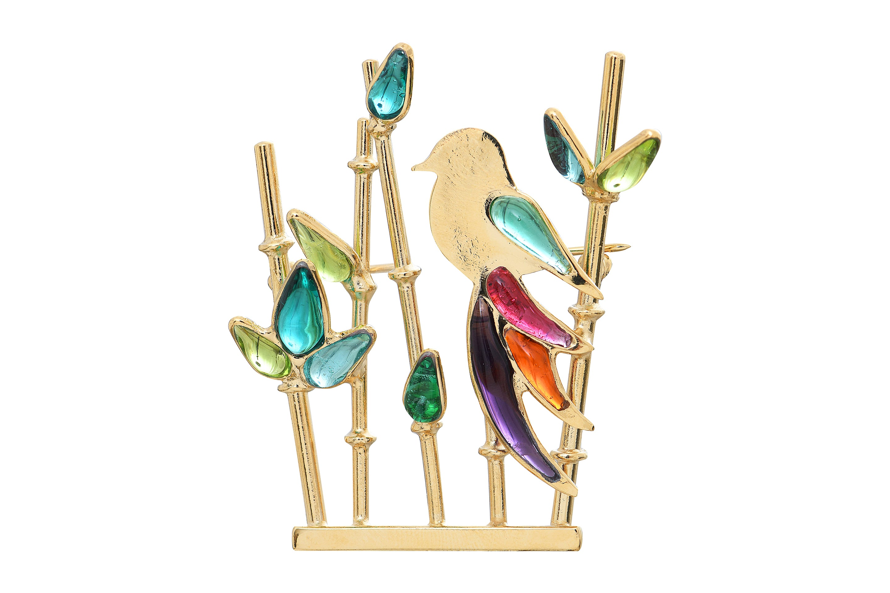 Bamboo Brooch with Tropical Bird