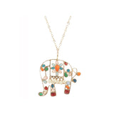 Small Elephant Pendant with long chain and pearls
