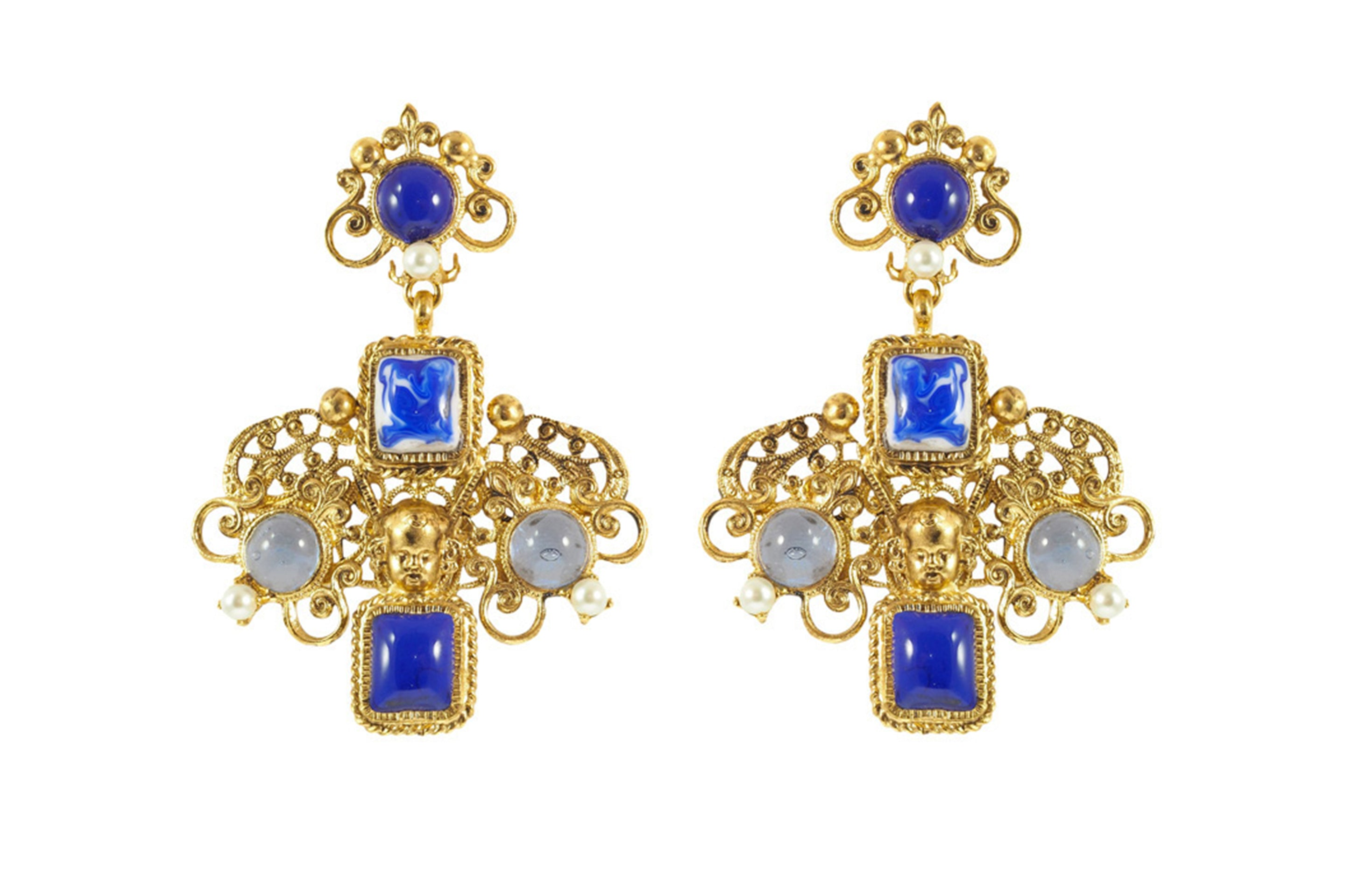 Azulejos Long Clip Drop Earrings