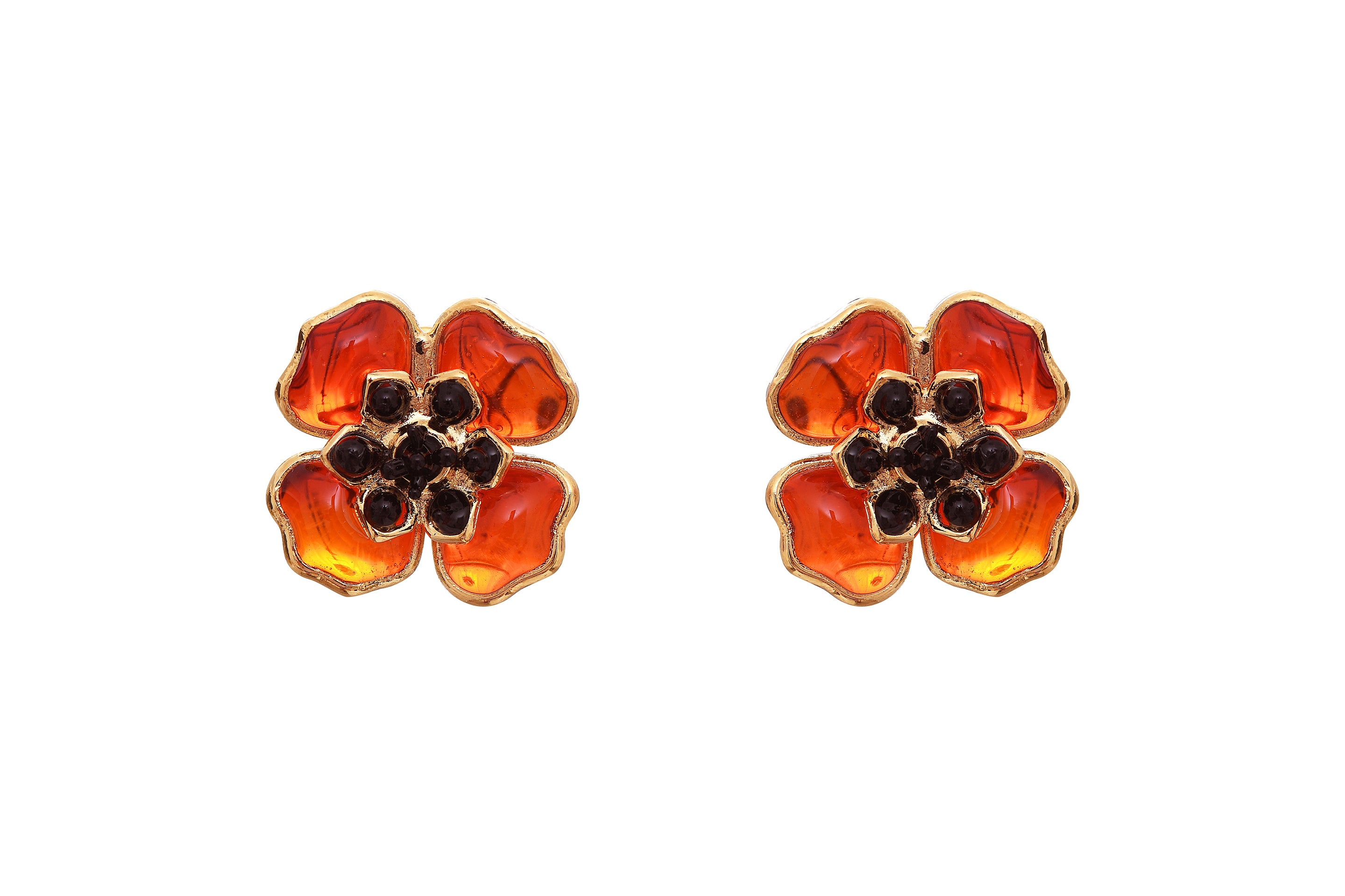 Poppy Flower Small Pierced Earrings