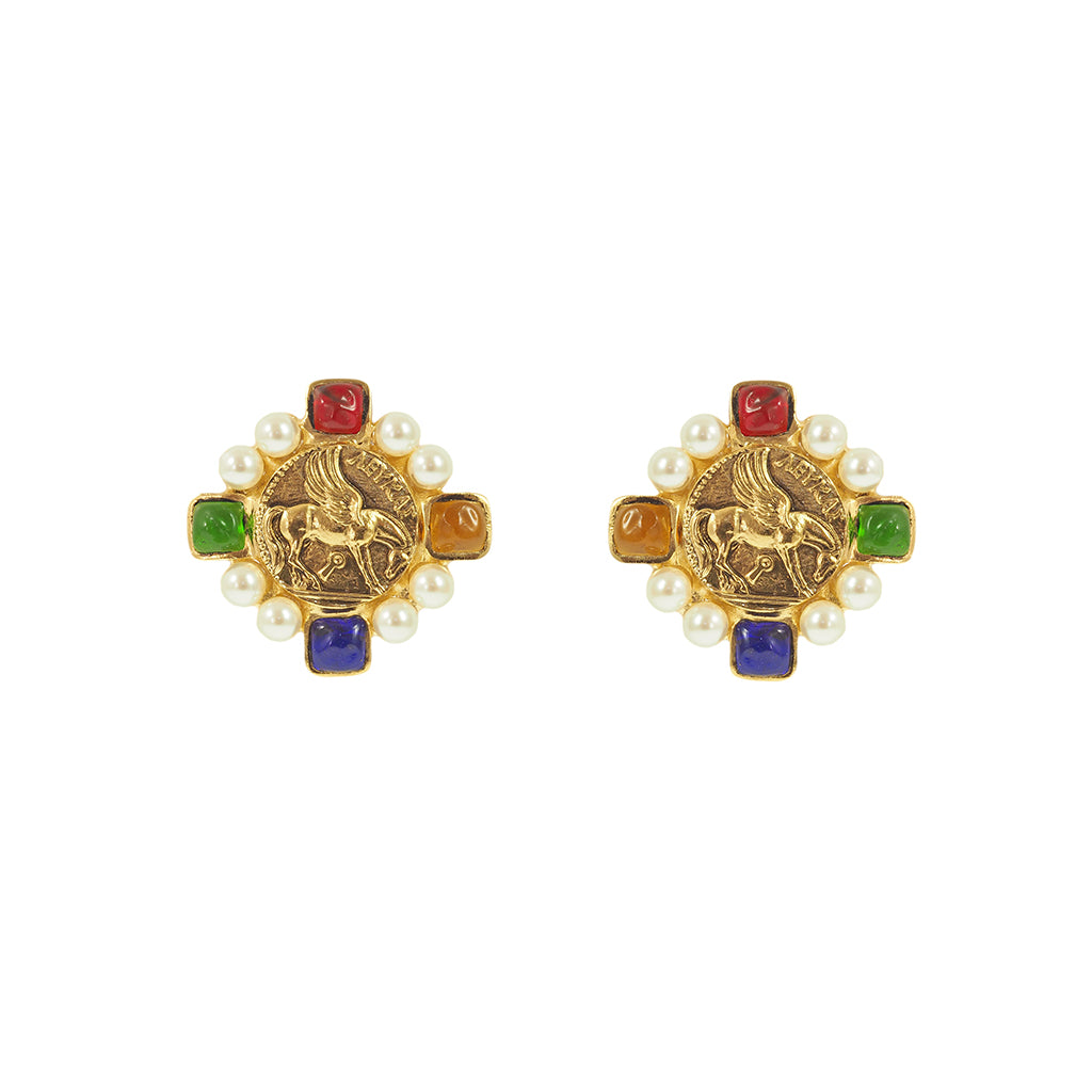 Byzantine Signet Clip Earrings