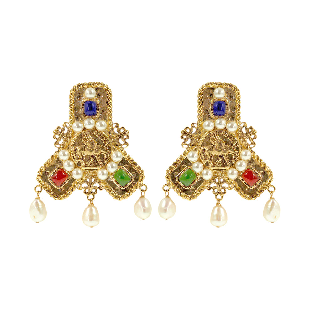Byzantine Signet Clip Drop Earrings