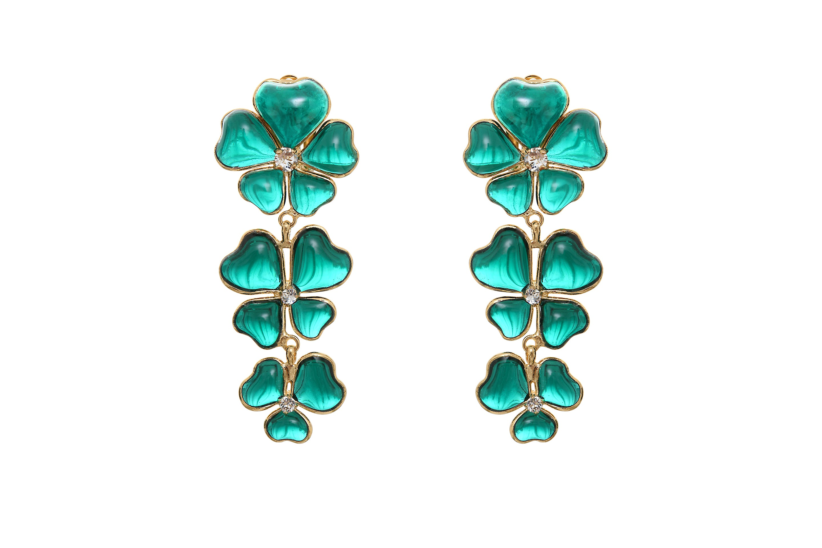 Clover Shape Statement Clip Drop Earrings