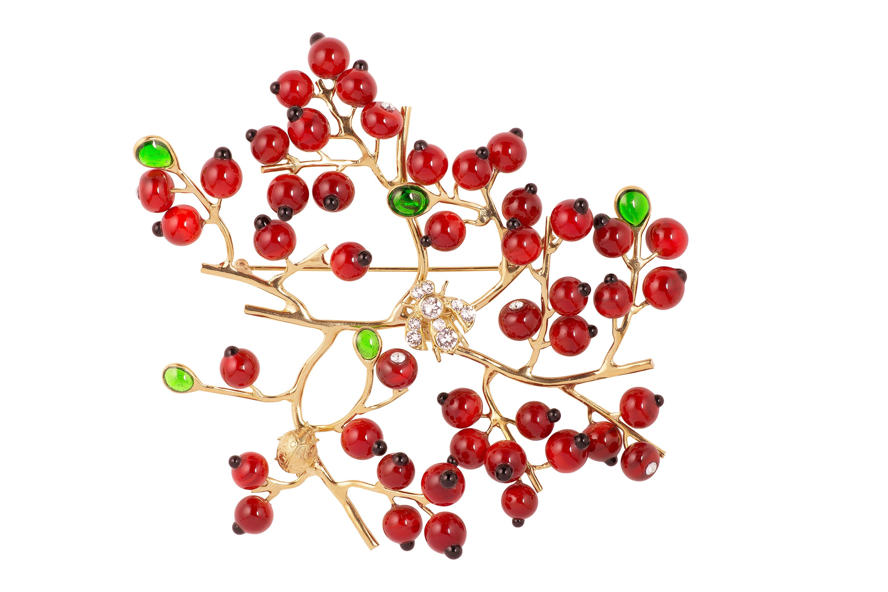 Red Currant Bouquet Brooch