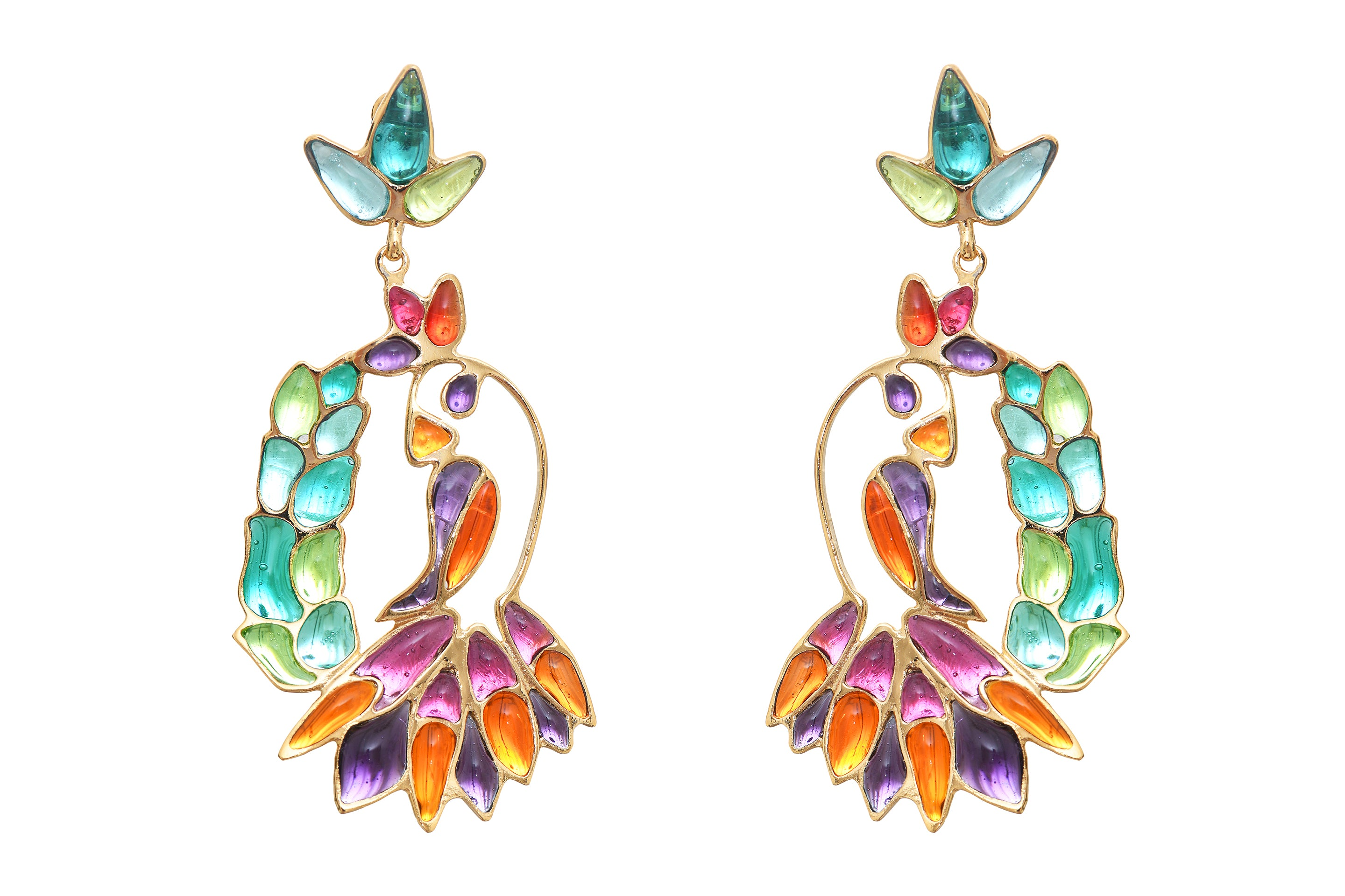 Hanging Tropical Bird Pierced Earrings