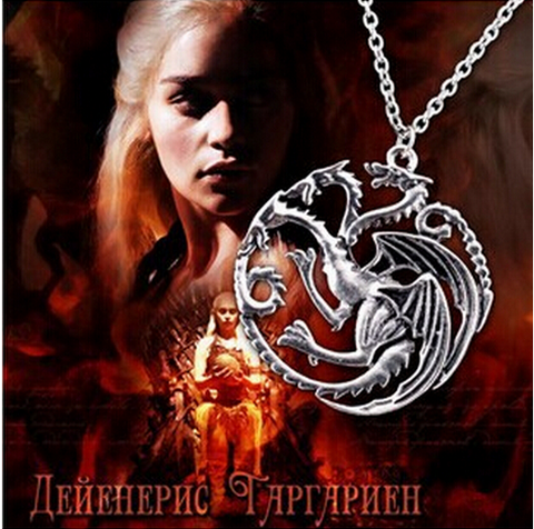 2015 New High quality Game Of Thrones Targaryen Dragon Badge Necklace