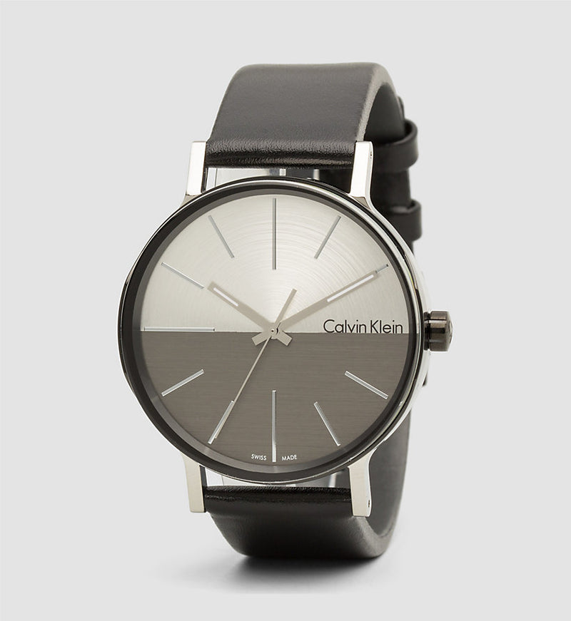 ck Calvin Klein Men's K7Y21CCX Boost Cool Grey Black Leather Watch