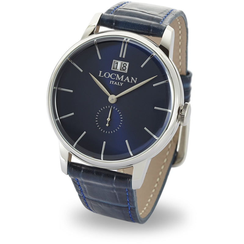 The LOCMAN 1960 collection's elegant design is based on clean, understated lines, with a contemporary touch closely inspired by the early 1960s. Still associated with Federico Fellini's La Dolce Vita, the Sixties were the most glamorous of decades, bringing a lifestyle and fashion revolution.  Reference: 0252V02-00BLNKPB Collection: MILLENOVECENTOSESSANTA Dial color: DARK BLUE Dial index: APPLIED INDEX Case size: 41 MM Case material: STEEL Lug distance size: 20 Movement: TIME QUARZ WITH BIG DATE Strap color