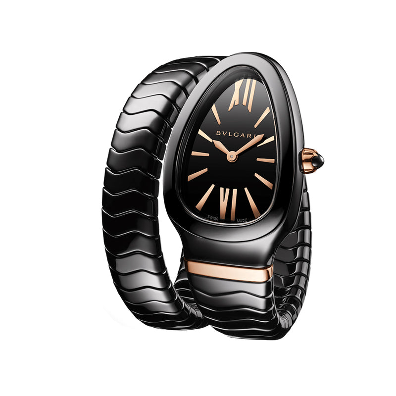 102734-Bulgari Ladies 102734 Serpenti Spiga Black Ceramic Watch