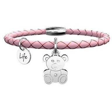 Kidult Leather Charm Bracelet With Pink Steel 316l cod. 231519