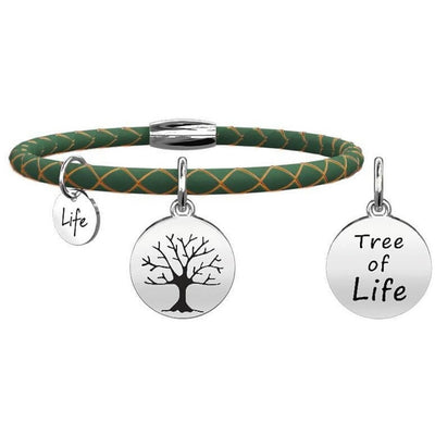 Kidult  LEATHER BRACELET WITH GREEN AND STEEL 316L pendant 231519