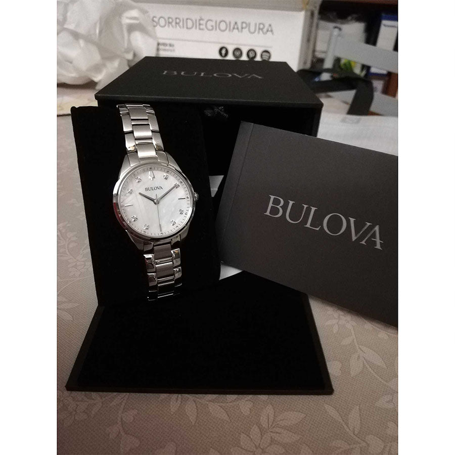 96P199-Bulova Ladies 96P199 Classic MOP Diamonds Dial Watch