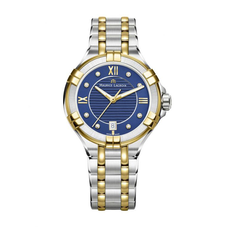 AI1006-PVY13-450-1-Maurice AI1006-PVY13-450-1 Gold PVD Date Blue 35mm