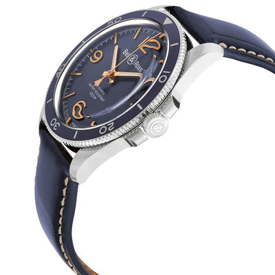 BRV292-BU-G-ST/SCA-Bell&Ross Men's BRV292-BU-G-ST/SCA Vintage Blue Dial Watch