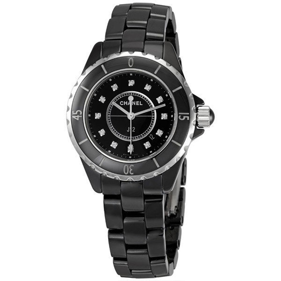 H1625-Chanel H1625 Black Ceramic Diamonds Ladies Watch