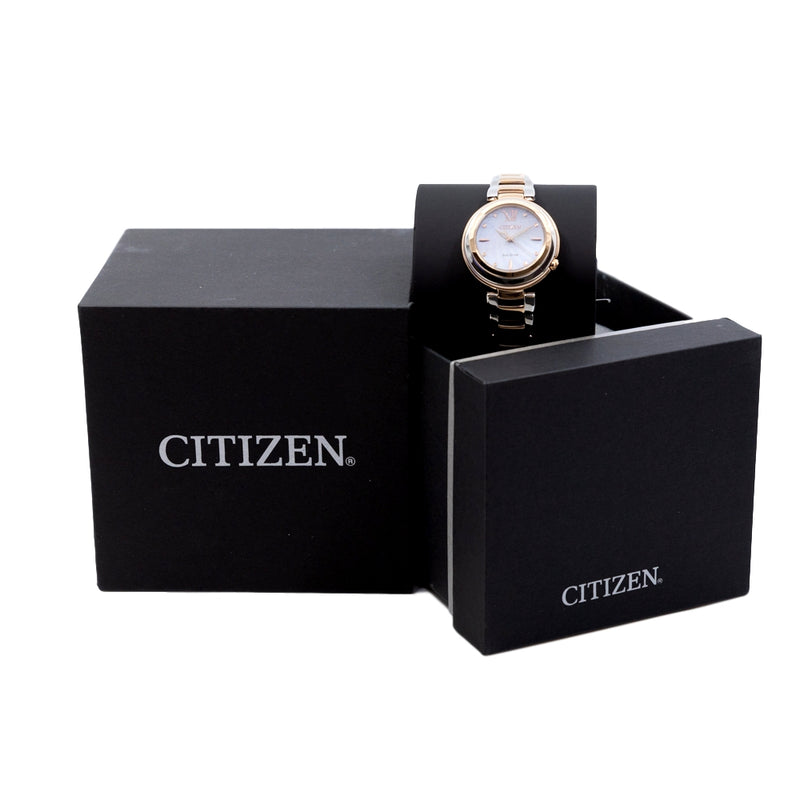 EM0335-51D-Citizen Ladies EM0335-51D White Dial Diamonds Watch