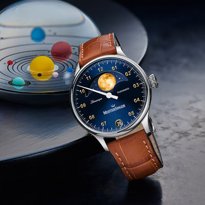 LS908G-MeisterSinger Men's LS908G Luna Scope Blue Dial Watch