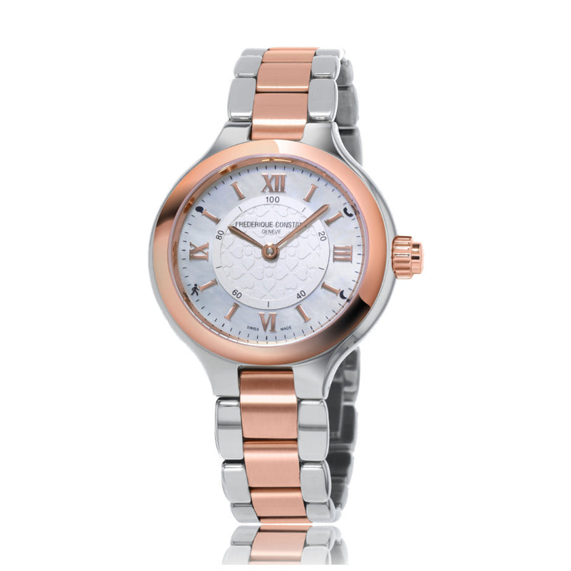 Ladies FC-281WH3ER2B Horogloical Smartwatch Quartz Steel & Rose Gold White Dial