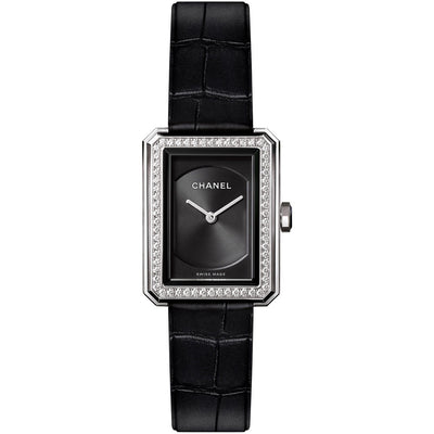 Chanel H4883 Black Dial 62 Diamonds Steel Ladies Watch