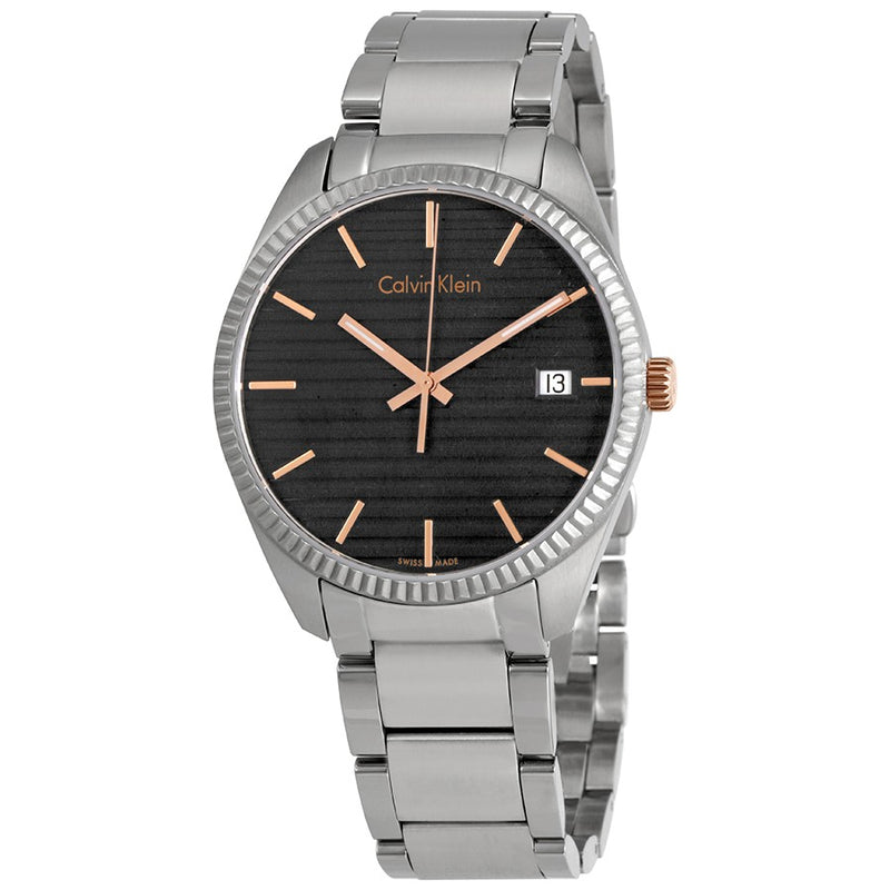 ck Calvin Klein Men's K5R31B41 Alliance Black Dial Stainless Steel Watch