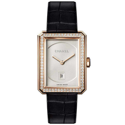 Chanel Ladies H4469 BOY·FRIEND Quartz Beige-Gold Diamonds Watch