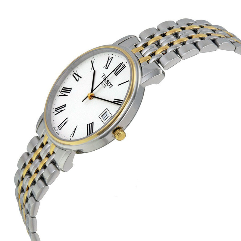 Tissot Men's T52248113 T-Classic White Dial Two-Toned Steel