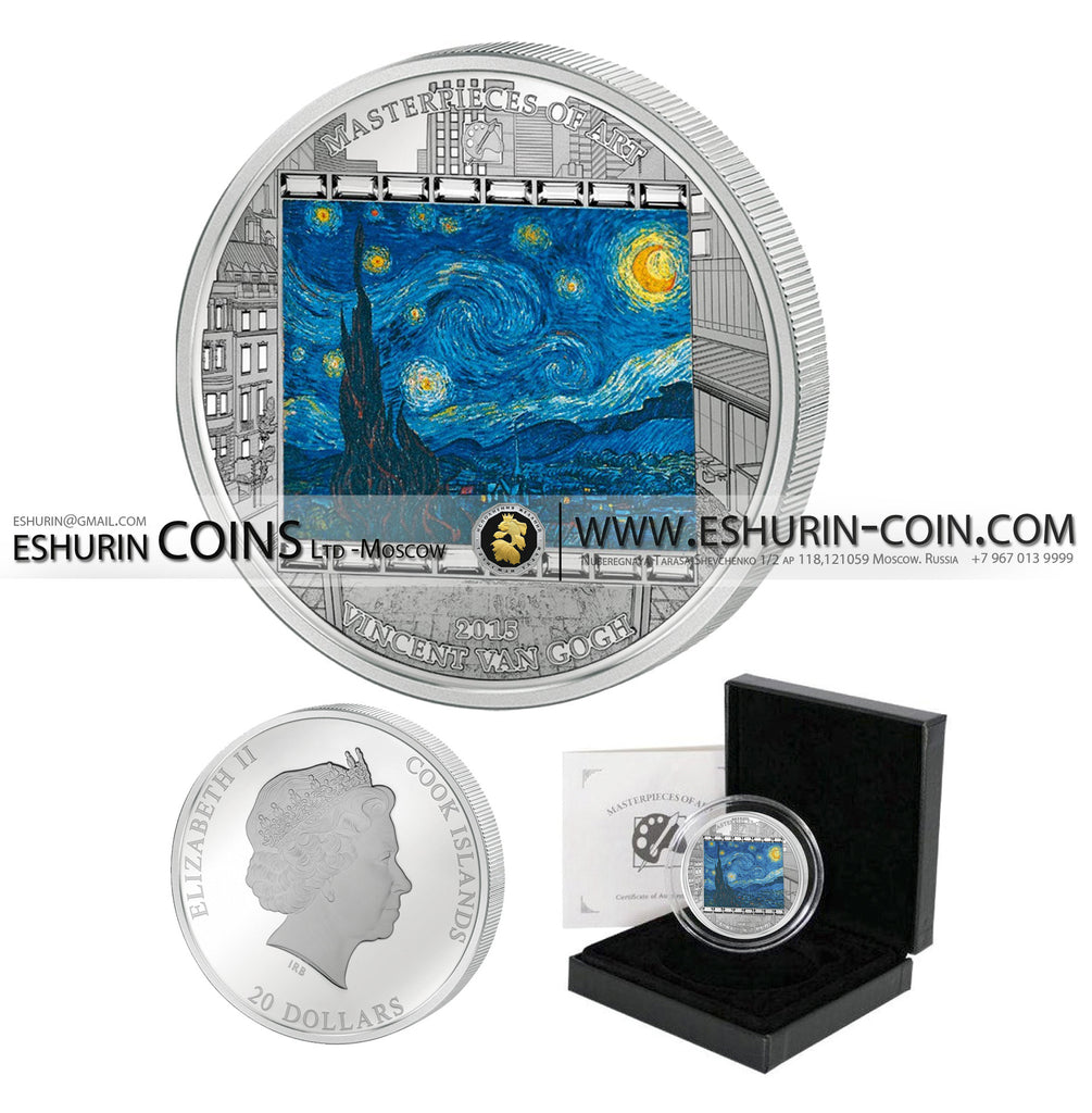 Cook Islands 2015 20 dollars Masterpieces of Art Van Gogh Starry night  silver 93.3g