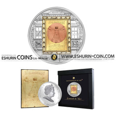 Cook Islands 2010 20 Dollars Masterpieces of Art Vitruvian Man SPECIAL EDITION silver 93.3g gold 7.09g coin Острова Кука 2010 20 Долларов Витрувианский человек Леонардо 93.30г золото 7.09г монета