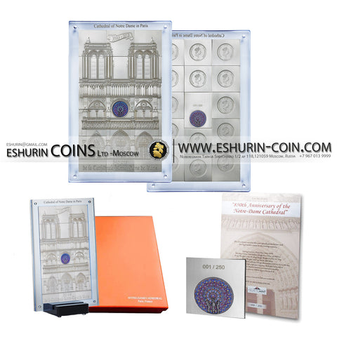 Niue 2014 10 Dollars Cathedral Notre De Paris 1Kg Silver Set 15 Coin