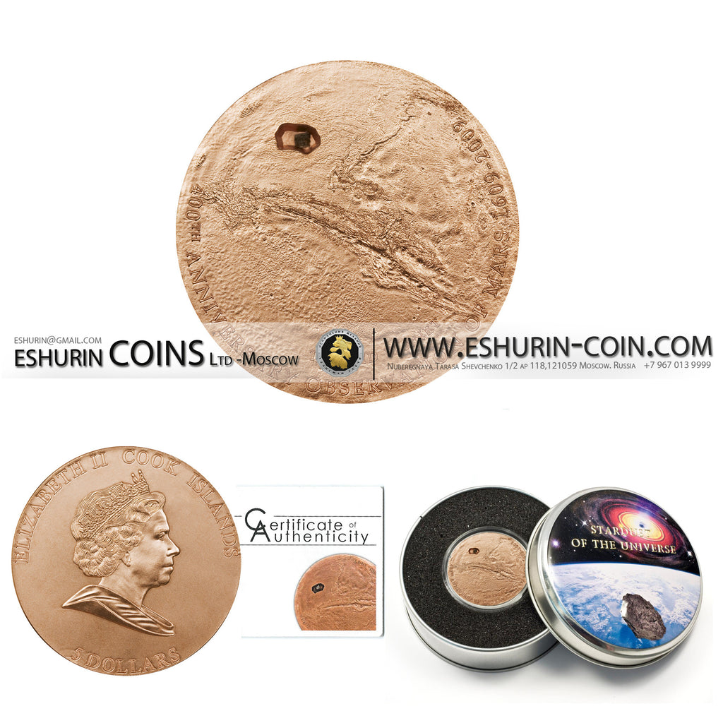 Cook Islands 2009 5 Dollar MARS Meteorite 400 Year of the Observation of Mars NGC PF68 MATTE 25g silver coin Острова Кука 2009 5 Долларов 400-летие начала изучения Марса метеорит с Марса 25г серебро монета