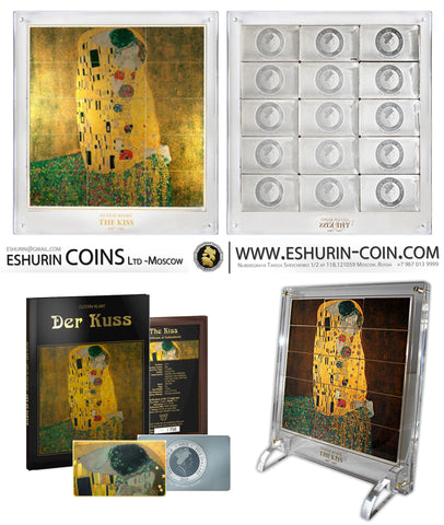 "Niue 2015 5 Dollars Gustav Klimt's ""The Kiss""  Giants of Art 1 050g Silver Set 15 coins"