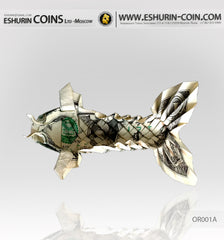 1 Dollar Paper Money Origami of KOI FISH with fluffy tail