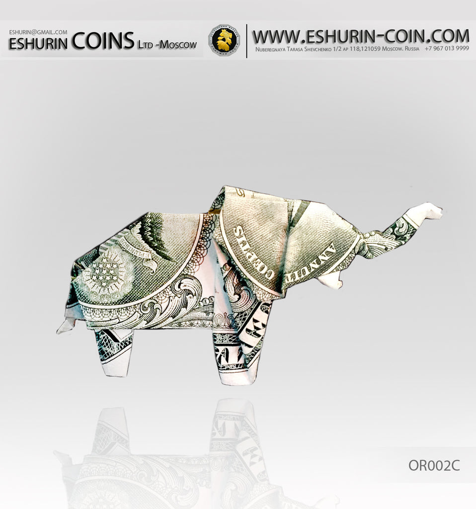 Usa 1 Dollar Paper Money Origami Elephant Symbol Of Luck Eshurin