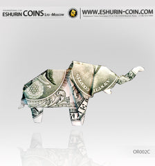 1 Dollar Paper Money Origami Elephant symbol of luck
