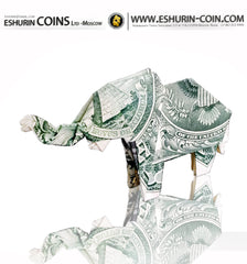 USA 1 Dollar Paper Money Origami Elephant symbol of luck