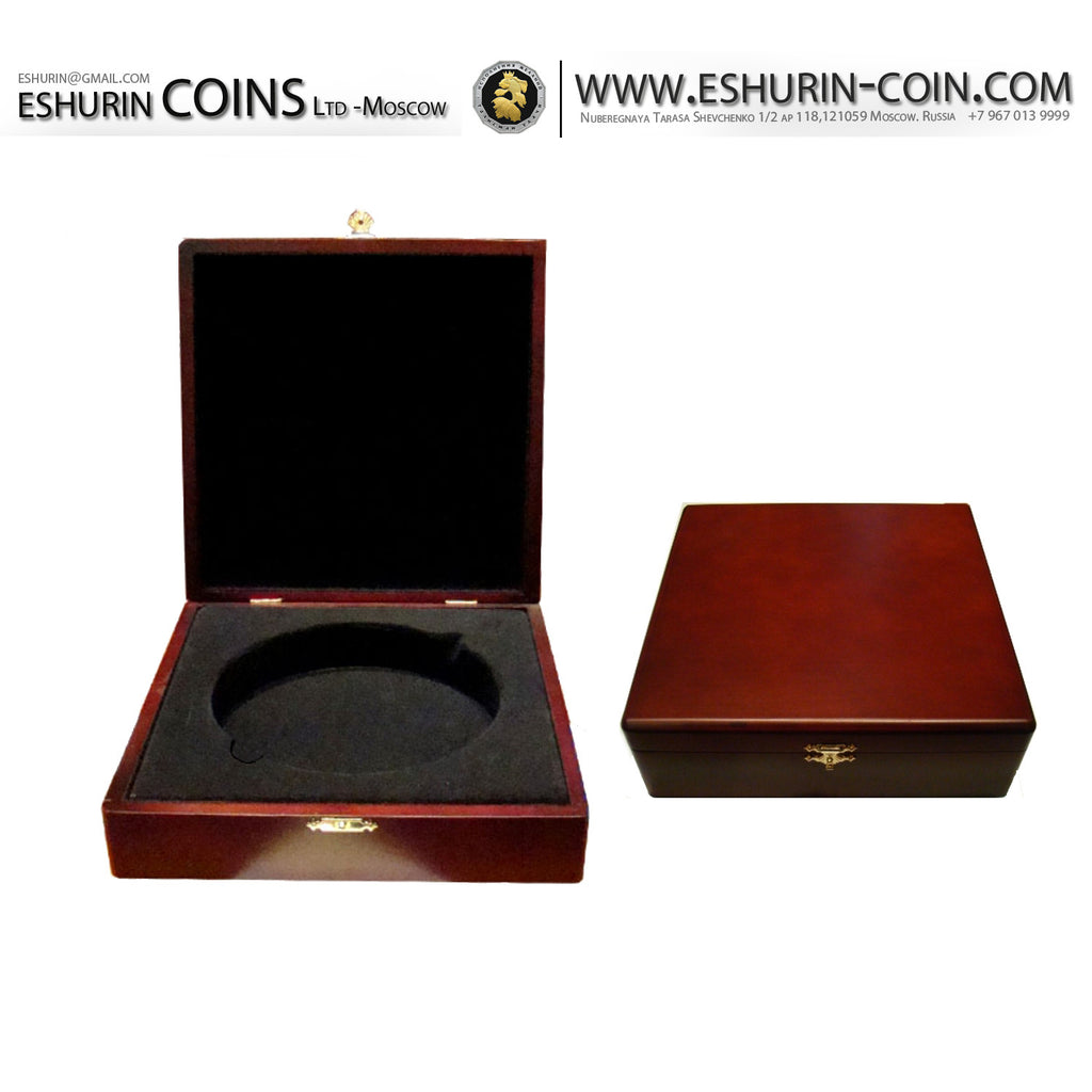Wood presentation case - box for coin 74 mm