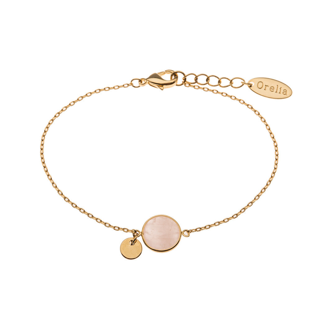 Orelia Rose Quartz Gold Bracelet