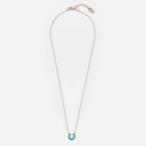 Orelia Turquoise Bead Horseshoe Necklace