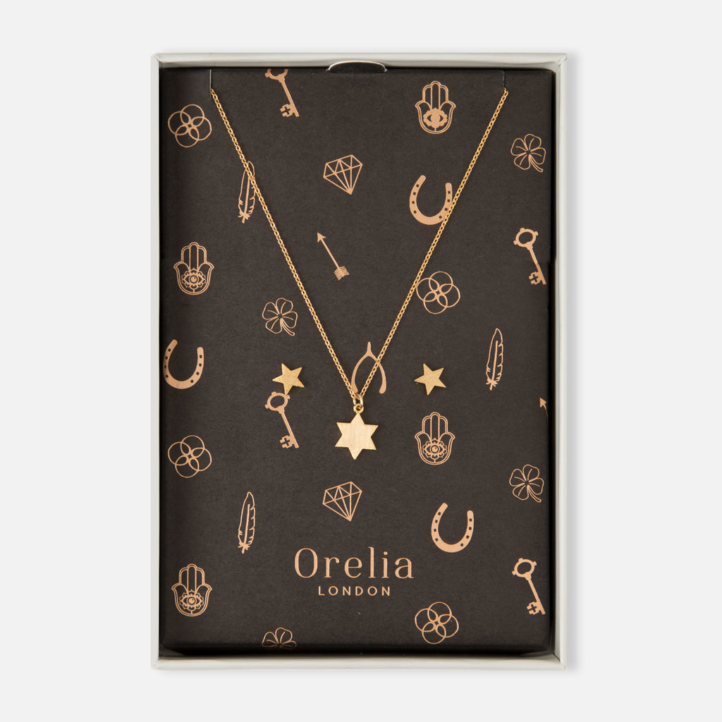 Orelia Star Necklace and Earrings Set- Brushed Gold Finish