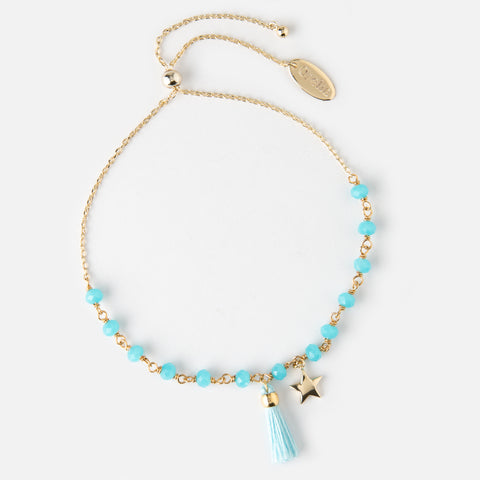 Orelia Bead and Tassel Bracelet