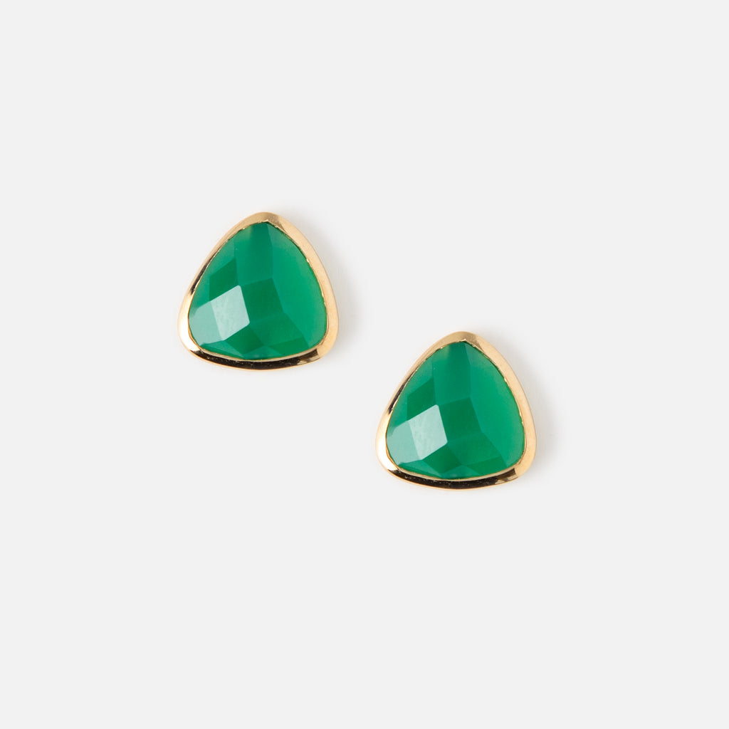 Orelia Green Triangle Earrings
