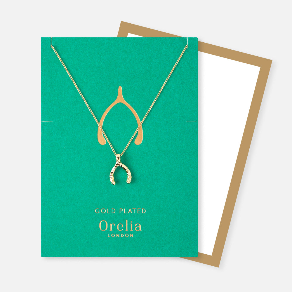 Orelia Silver Plated Lucky Wishbone Necklace